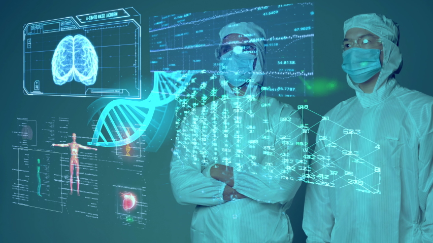 Medical doctor scientist COVID vaccine researcher wearing mask and suit with smart mobile virus analysis, medical laboratory IoT technology AI mobile health care digital futuristic presentation. Royalty-Free Stock Footage #1052633291