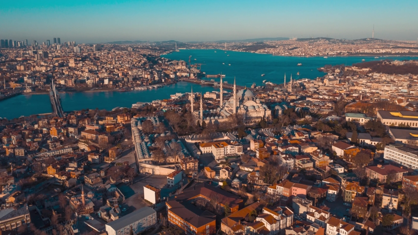 Sunset Aerial suleymaniye mosque hyperlapse drone image, istanbul TURKEY Royalty-Free Stock Footage #1052648621