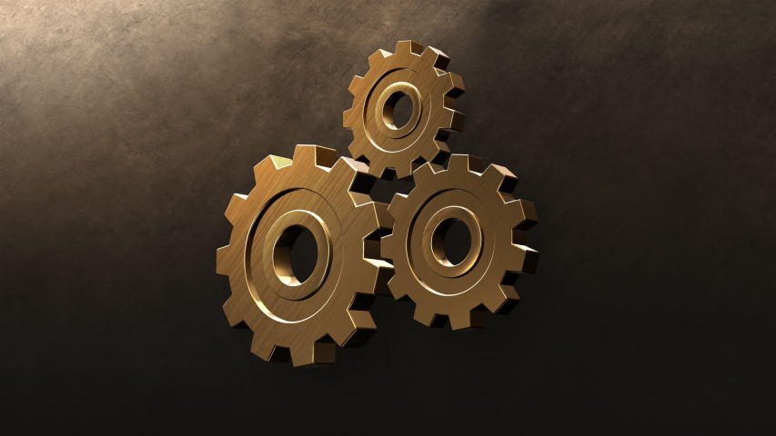 Golden Gears Wall engine gears wheels slowly rotating Front View Seamless Rotation. Beautiful Looped 3d Animation. Abstract Working Process. Teamwork Business and Technology Concept. 3d rendering | Shutterstock HD Video #1052666009
