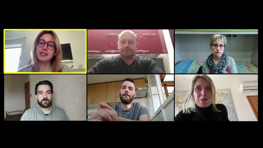 Covid 19, chatting by zoom. A group of friends talking about pandemic Royalty-Free Stock Footage #1052669057