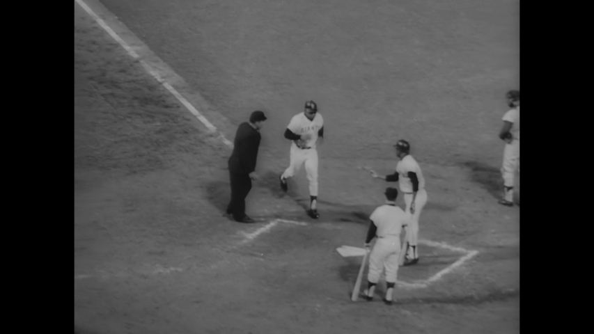 CIRCA 1966 - Playing for the San Francisco Giants in Candlestick Park, Willie Mays makes a record home run after a pitch.