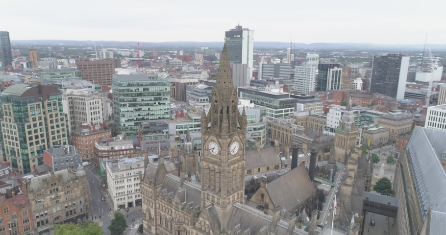 Manchester England aerial shot. Houses, downtown, streets, tower, cars, panorama, old town, new city, beautiful drone. | Shutterstock HD Video #1052686712