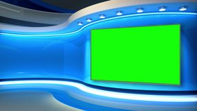 Tv studio. News room. News Studio. Studio Background. Newsroom bakground. Bachground. The perfect backdrop for any green screen or chroma key video production. Loop.  3D rendering.