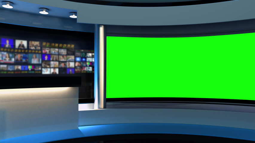 Tv Studio. Studio. News studio. Newsroom Background for News Broadcasts. Blurred of studio at TV station. News channel design. Control room. 3D rendering. Green screen