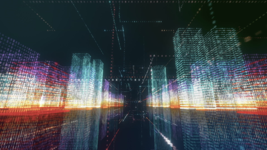 Digital City seamless loop. Abstract 3D hologram render with futuristic matrix. Flying through colored buildings with a binary code particles network. Technology and connection concept. Cyberspace
