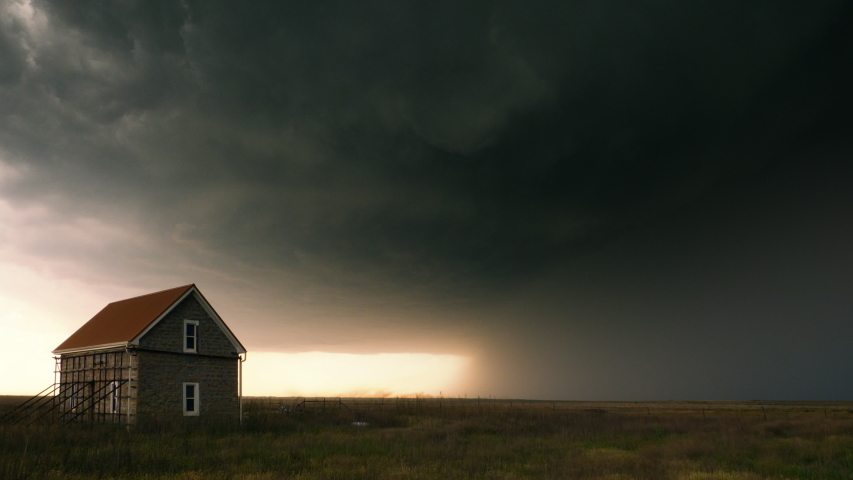 A Supercell Thunderstorm Over the Plains of Tornado Alley During A Severe Weather Outbreak