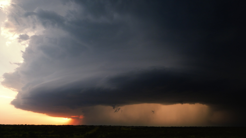 A Large Supercell Thunderstorm Spirals Across Tornado Alley During A Severe Weather Outbreak