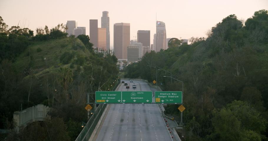 Empty Downtown LA 110 Freeway 4K 48FPS SLO-MO | Shutterstock HD Video #1052696168