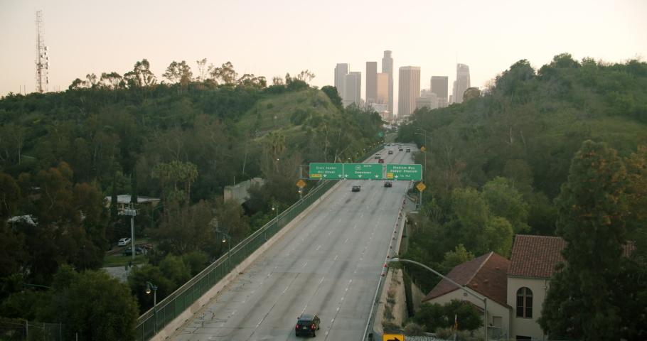 Empty Downtown LA 110 Freeway 4K 48FPS SLO-MO