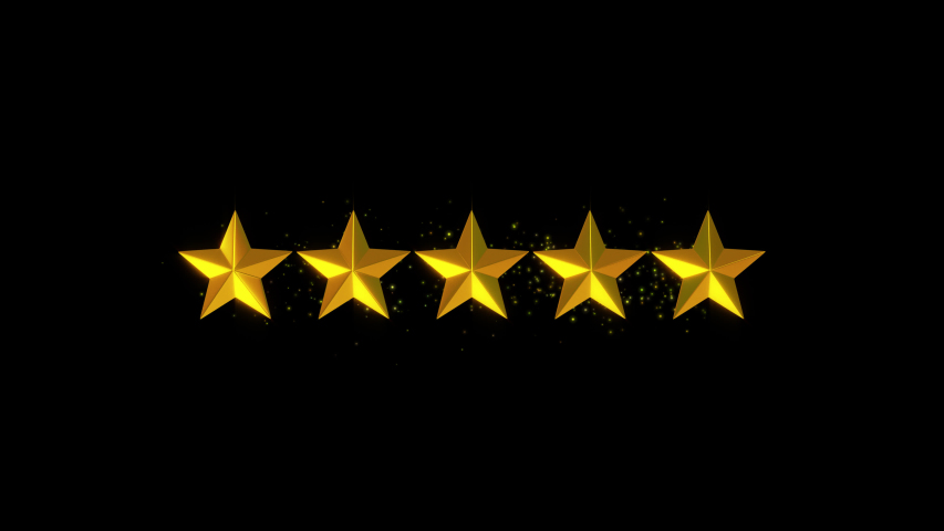 Five golden stars rating Animation 4k, alpha channel. #1052701847