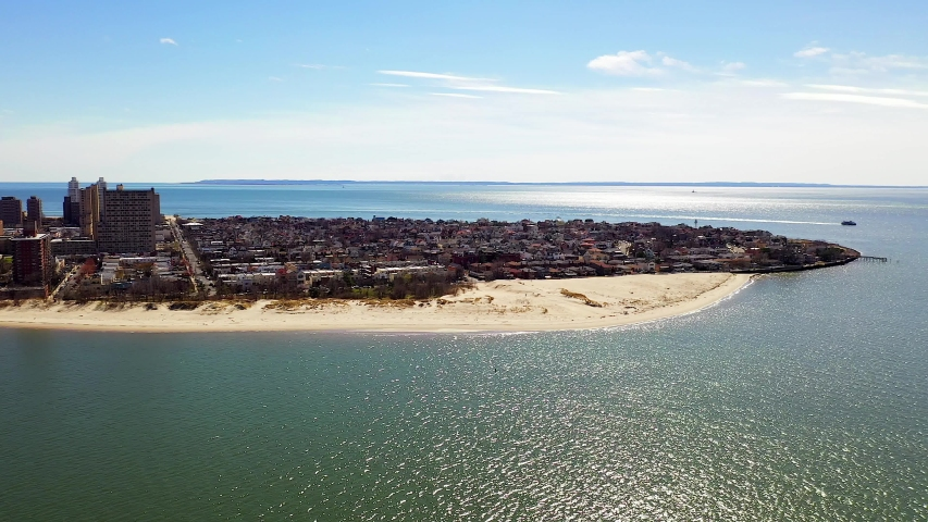 Coney Island, NY/United States - March 14, 2020: Beautiful aerial shot of Coney Island.
