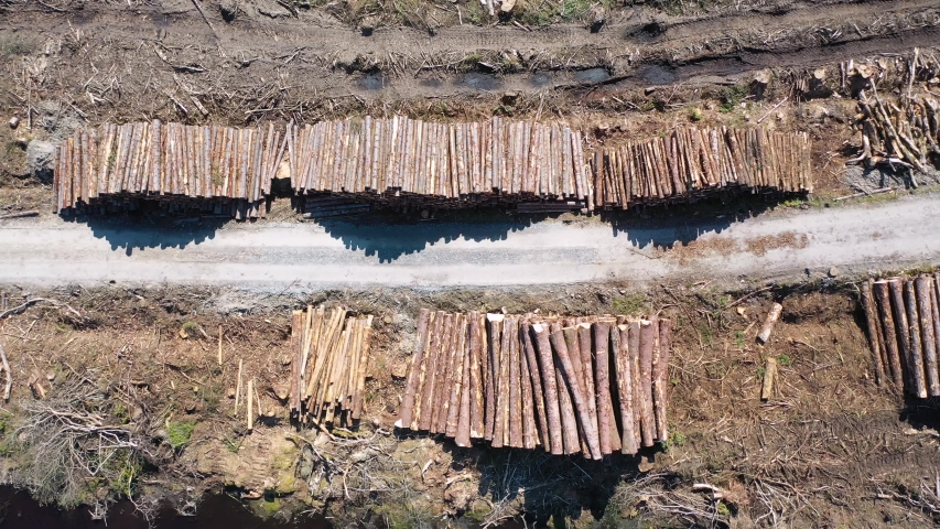 Timber stacks aerial at Bonny Glen in County Donegal - Ireland. | Shutterstock HD Video #1052719229