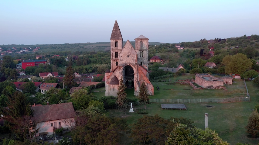 Amazing aerial 4k vedeo about the Premontre Monastery. This is a church ruin in Zsambek city Hungary. Built in 1220-1234.  Roman and gotchic style. Destroyed an big earthquake in 1763.
