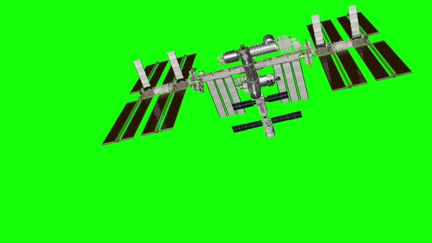 International Space Station ISS revolving over earths atmosphere. Green screen. Elements of this image furnished by NASA.   Shutterstock HD Video #1052720600