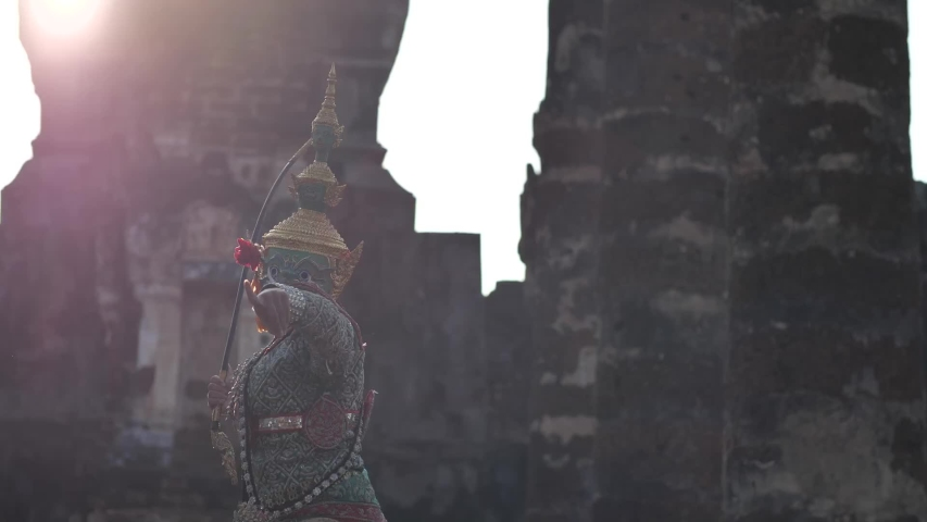 The character of giant from Khon-Thai culture named Tosakan from Ramayana or Ramakien. The traditional dance of arts perform at Ancient temple in Sukhothai period. | Shutterstock HD Video #1052722307