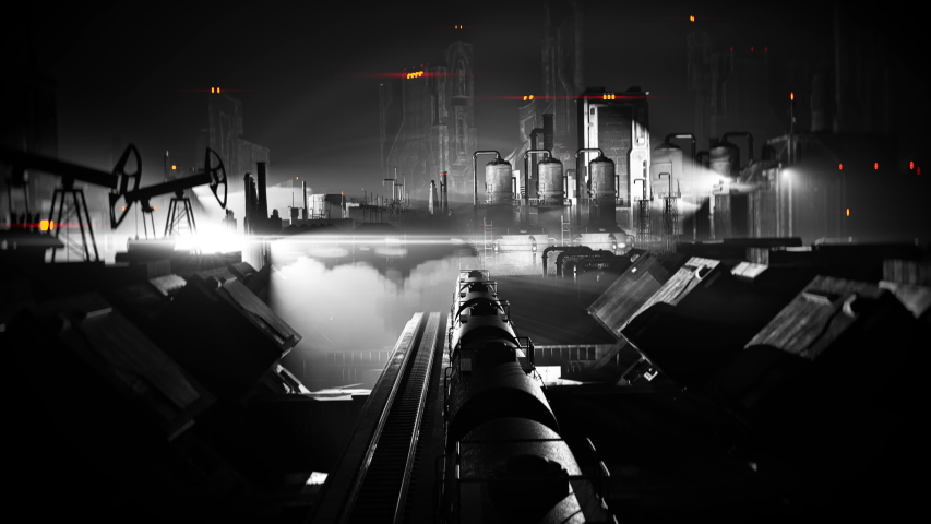 Black and white cargo train moving through industrial district, film noir