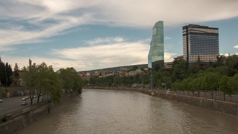 TBILISI. GEORGIA. 1 May 2020 : Time lapse shooting of Kura river. View from Galaktion Tabidze bridge in the center of City.
