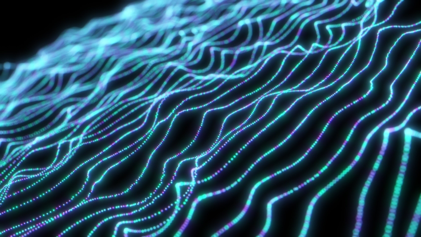 Abstract wavy background. Data flow concept animation. Business and technology theme video. Neon particles | Shutterstock HD Video #1052729906