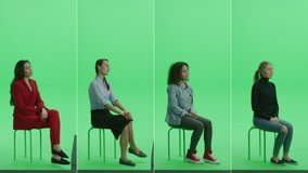 5-in-1 Green Screen Collage: Five Portraits of Beautiful Women of Diverse Background, Ethnicity, Different Age Sitting on the Chroma Key Chair. Side View Split Screen. Multiple Clips Best Value Pack