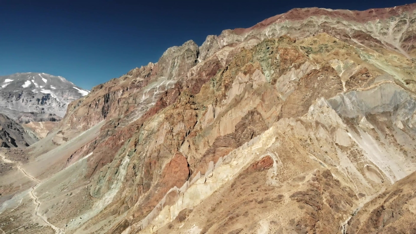 Steep mountains in Cajon del Maipo next to El Morado Nature Reserve near to Santiago de Chile in Central Chile | Shutterstock HD Video #1052737391