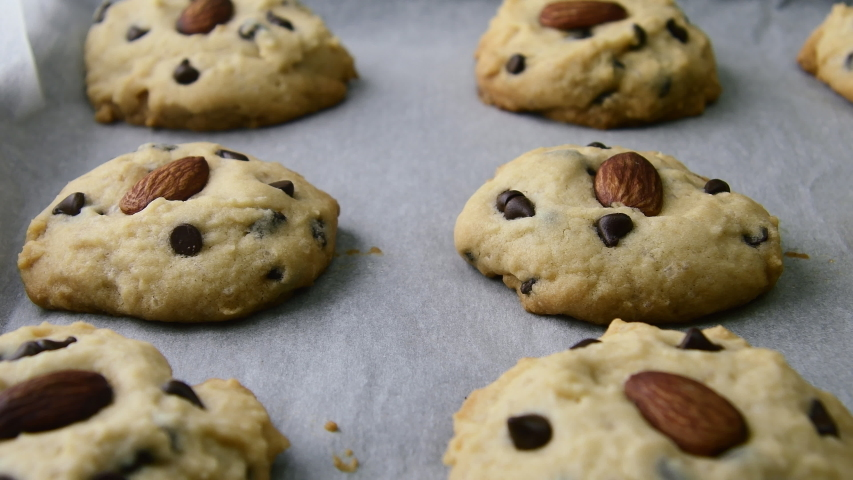 Homemade Chocolate Chip Cookies In Closeup | Shutterstock HD Video #1052739524