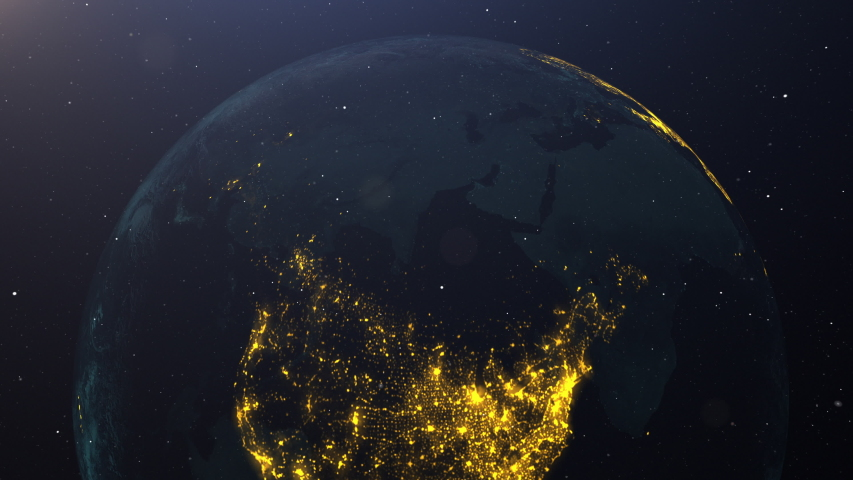 USA on Earth pulsing with colors at night. Great textless background video with room for your text. Perfect for presentations.  | Shutterstock HD Video #1052742422