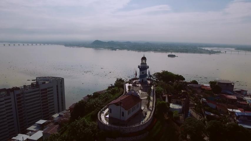 aerial shots downtown Guayaquil Cerro Santa Ana  | Shutterstock HD Video #1052745101