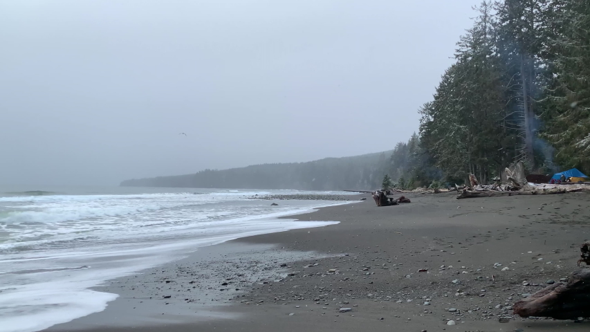 Snow Falling on BC Coast Canada Ocean Beach Travel Landscape Tourism | Shutterstock HD Video #1052745815