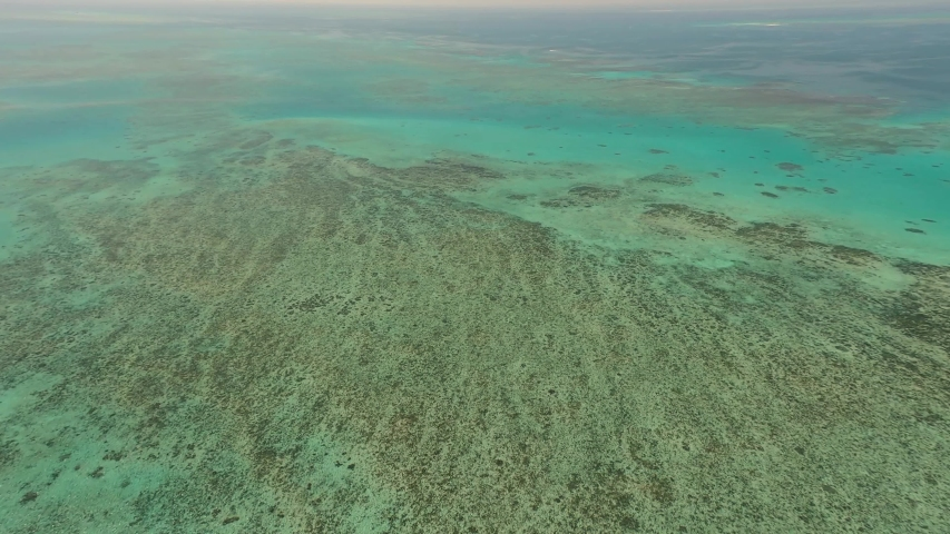 Great Barrier Reef Blue Sea view. Beautiful aqua & turquoise waters, with coral reef patterns in the ocean. View from helicopter, on vacation. Marine life, global warming, protection, island. 4K. | Shutterstock HD Video #1052751239