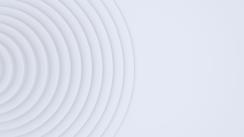 White light background, architectural futuristic construction, 3d motion design, layered paper art, looping animated 4K wallpaper, abstract geometric pattern, circles animation, concentric shapes.
