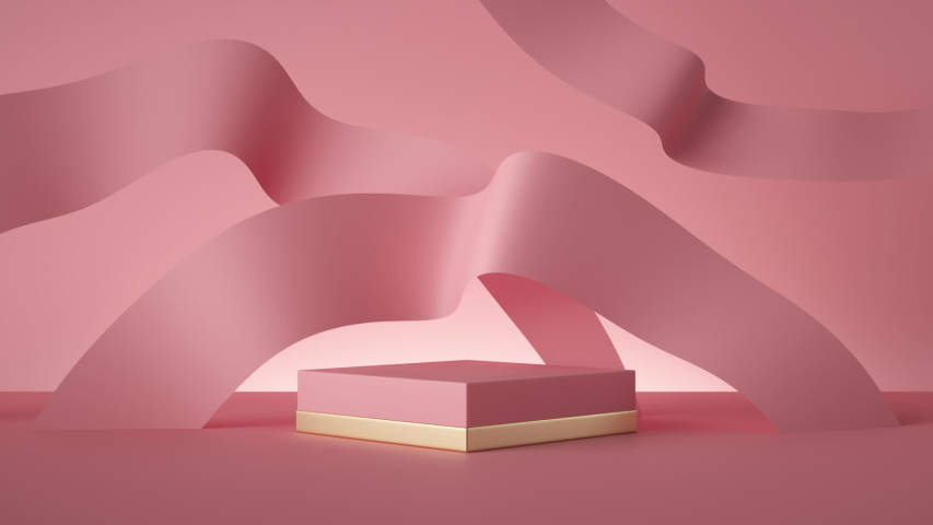 abstract pink fashion background, silk ribbons waving endlessly above empty pedestal looped animation, square box blank mockup. Modern minimal motion design. Commercial product display stand, showcase Royalty-Free Stock Footage #1052755421