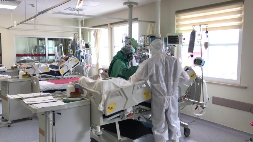 Istanbul, Turkey - May 05, 2020: Umraniye Hospital. Intensive care service where coronavirus patients are treated.