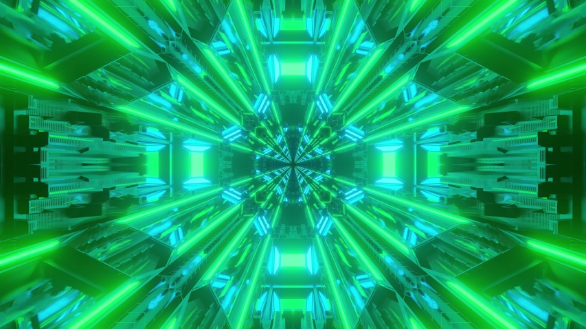 Animation of immersing through long hollow space tunnel with converging bright green lines towards the center. VFX, VJ loops. | Shutterstock HD Video #1052759297