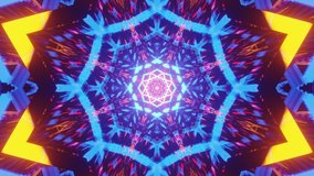 Animation representing inner soul and meditation through central glowing colorful star. Enlightenment. Divine.