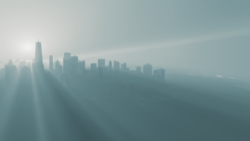 Skyline of Manhattan island, New York City, USA, minimal animation of skyscrapers at foggy morning, aerial view.    Shutterstock HD Video #1052762804