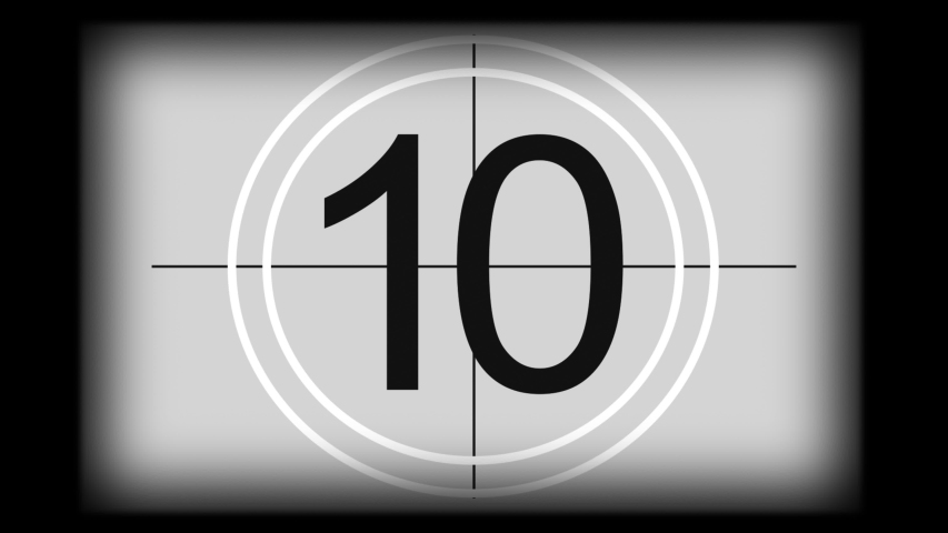 Monochrome universal countdown film leader. Countdown clock from 10 to 0. Design element of old cinema  Royalty-Free Stock Footage #1052769008