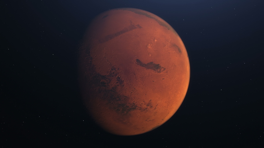 Martian Orbit. Mars in space with illuminated craters and Martian mountains. Elements of this image furnished by NASA  | Shutterstock HD Video #1052769023