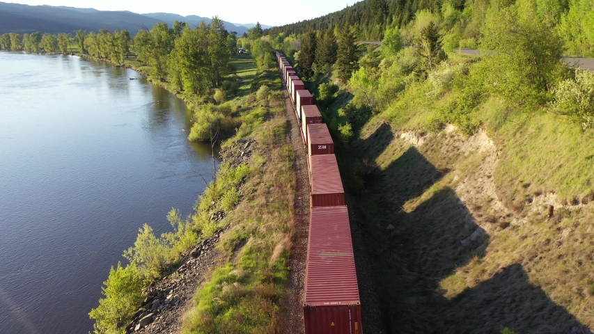 Aerial view fo cargo train in forest