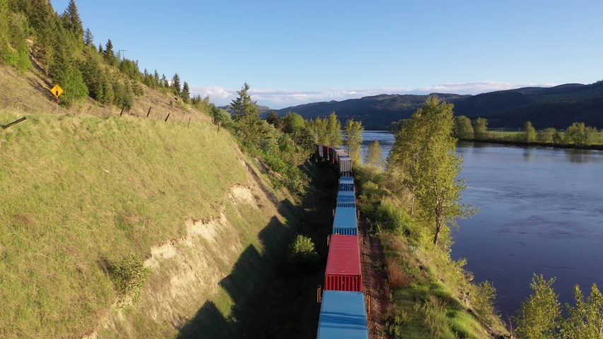 Aerial view of cargo train