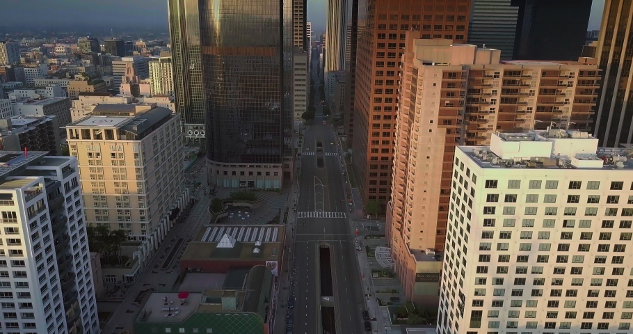 Cinematic Los Angeles Downtown Aerial DaytimeSunrise- Empty Street 4K | Shutterstock HD Video #1052775335