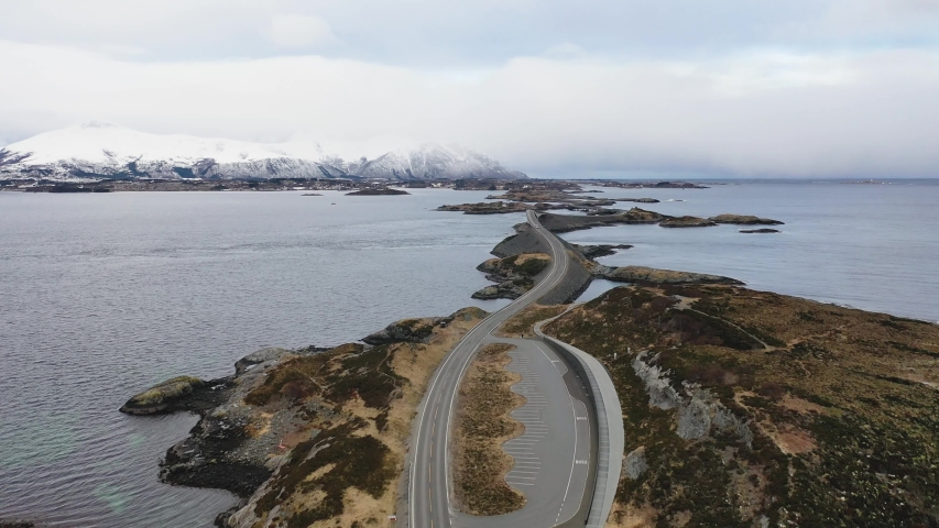 Winter atlantic road in Norway. Aerial view from a bird's flight