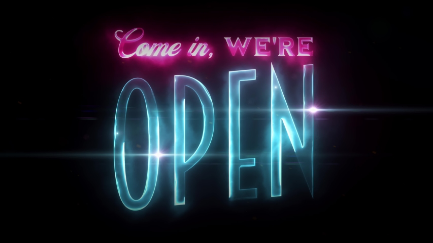 Neon Scifi Come In We're Open Sign Animation/ 4k animation of a neon hi-tech and eighties retro design we are open sign clip with optical flares effects | Shutterstock HD Video #1052793008