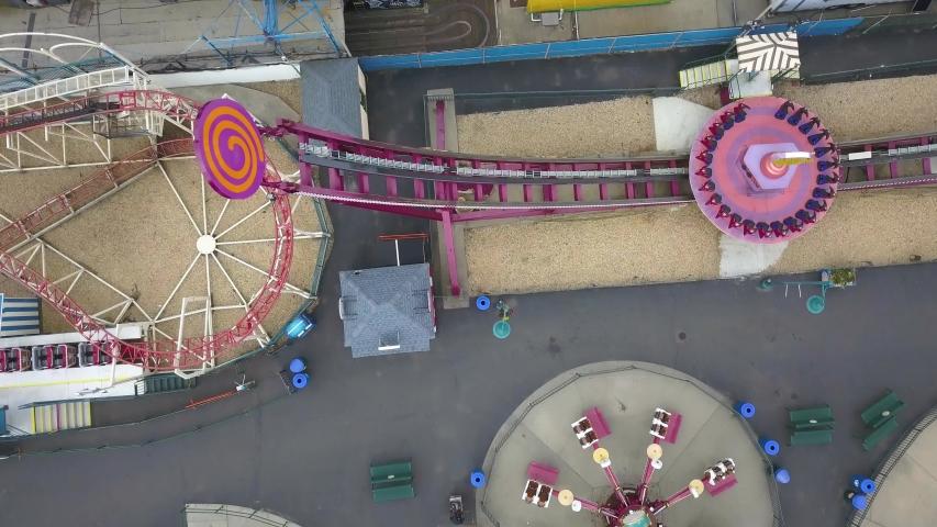 Empty amusement park on Coney Island in New York City