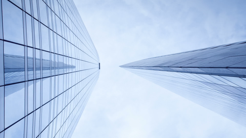 Downtown Paris time lapse view, looking up at office building architecture in the financial district of Paris | Shutterstock HD Video #1052796161