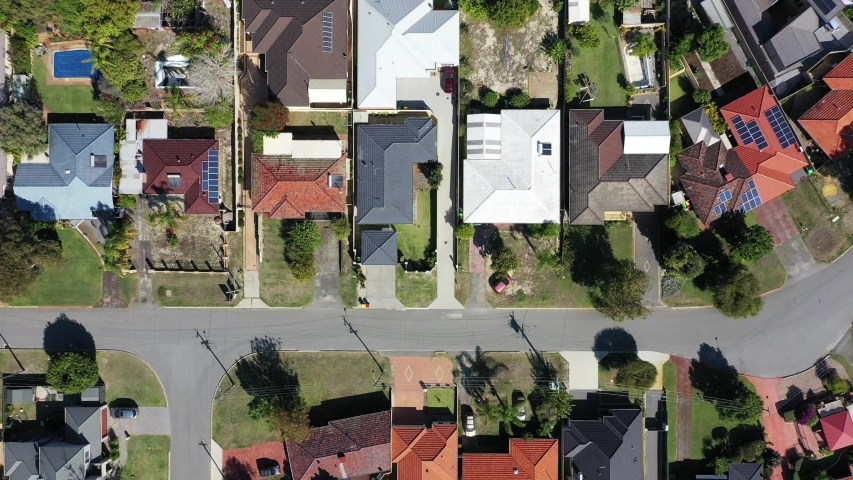 Aerial landscape view from a drone of houses in a quite suburban neighborhood in Perth western Australia.