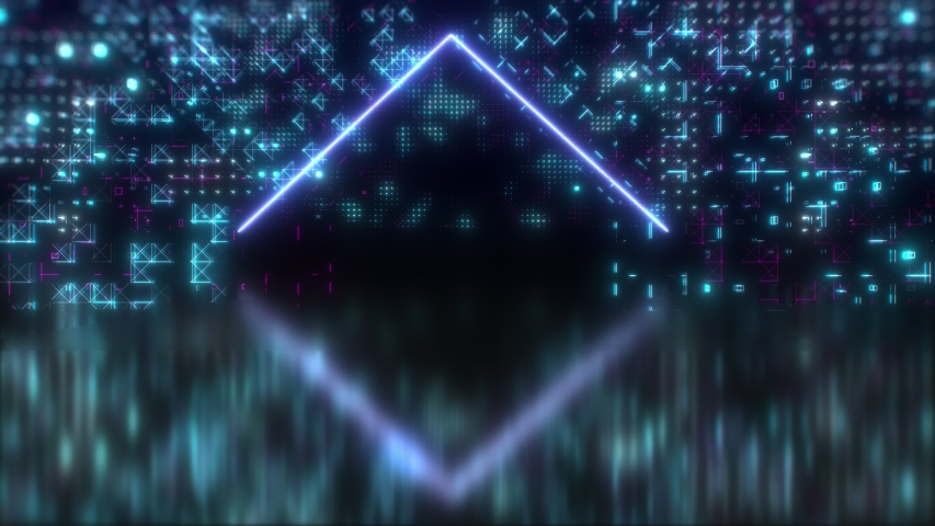 Neon glow abstract digital background. Futuristic hud animated concept. Circuit board hi tech 3d video. Blue, Purple, violet glowing colors. | Shutterstock HD Video #1052810837