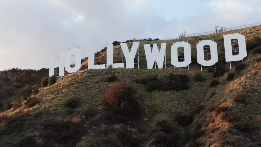 Aerial of the Hollywood Sign Los Angeles California Palm Trees   Shutterstock HD Video #1052827607