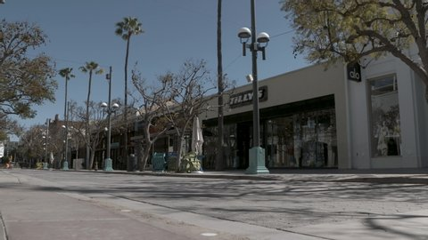 Los Angeles, CA/USA. 04/23/2020. mostly empty street in Santa Monica during Covid-19 coronavirus pandemic.