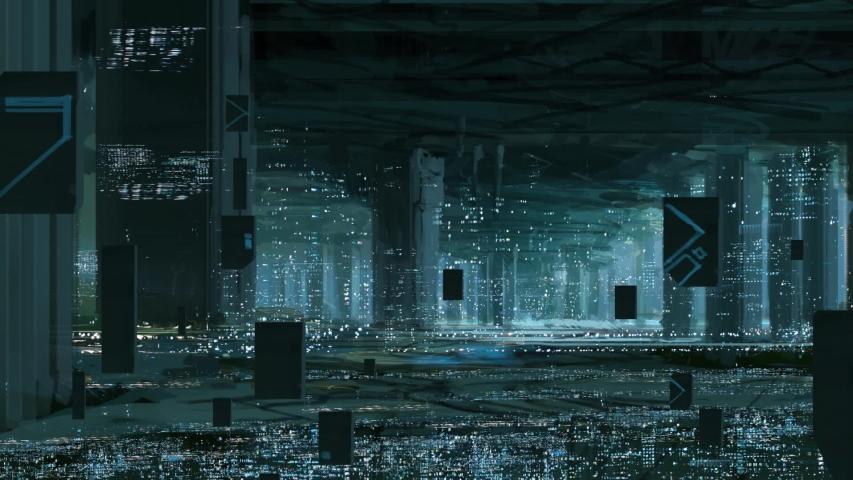 Futuristic science fiction cityscape. Digital art. Robot city. | Shutterstock HD Video #1052831549