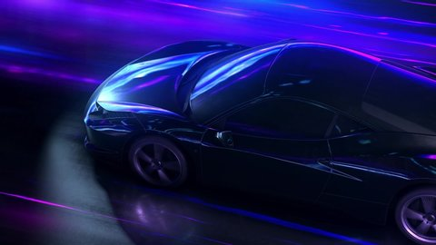 Super fast car going on the road with lights trails. hyperspeed auto and traffic concept action.